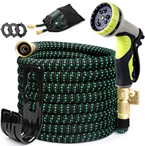 PUUKU 30FT Expandable Garden Hose, Kink Free Water Hoses with 9 Functions Nozzle, Flexible Hose Outdoor Yard Hose Lightweight Expanding Garden Hoses