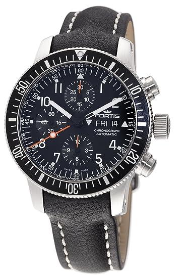 Fortis 638.10.11L.01 B-42 Cosmonauts - Reloj automático para Hombre, Acero Inoxidable y Piel Negra: Amazon.es: Relojes