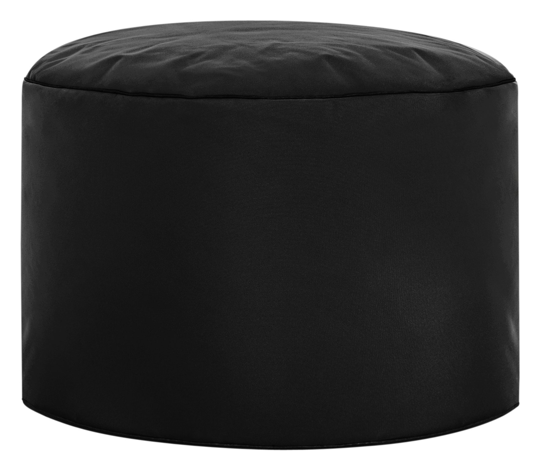 Gouchee Home Brava Pouf Collection Contemporary Polyester Upholstered Round Pouf/Ottoman, Black