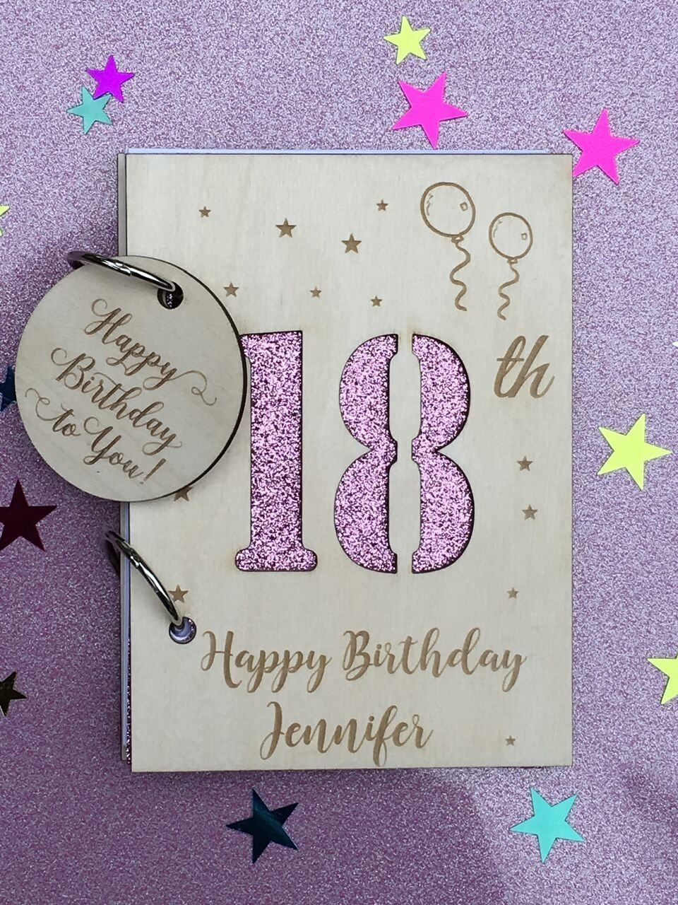 Personalised Party Birthday Glitter Guestbook Wood Cover A5 A6 16th 18th 21st