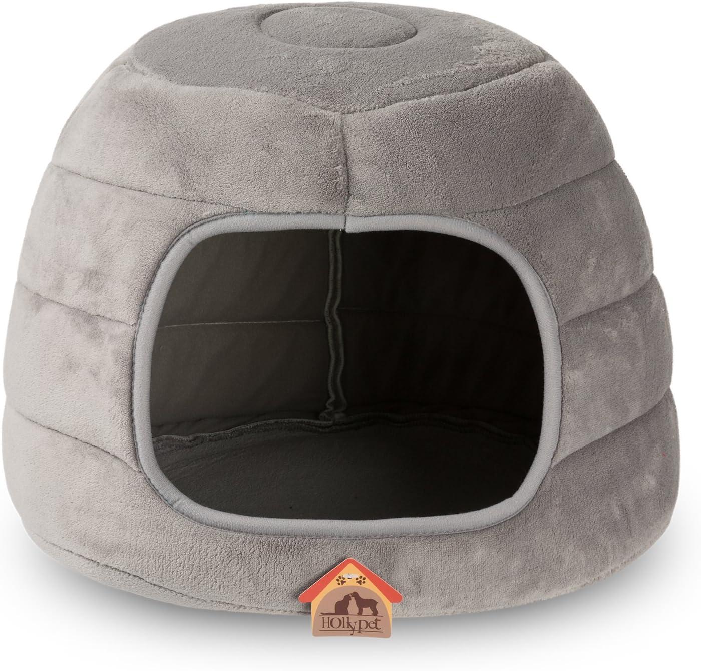 Hollypet Cama para gatos de mascotas y gatos pequeños y en forma de cueva plegable con forma de cueva plegable de terciopelo coralino de terciopelo, Gris