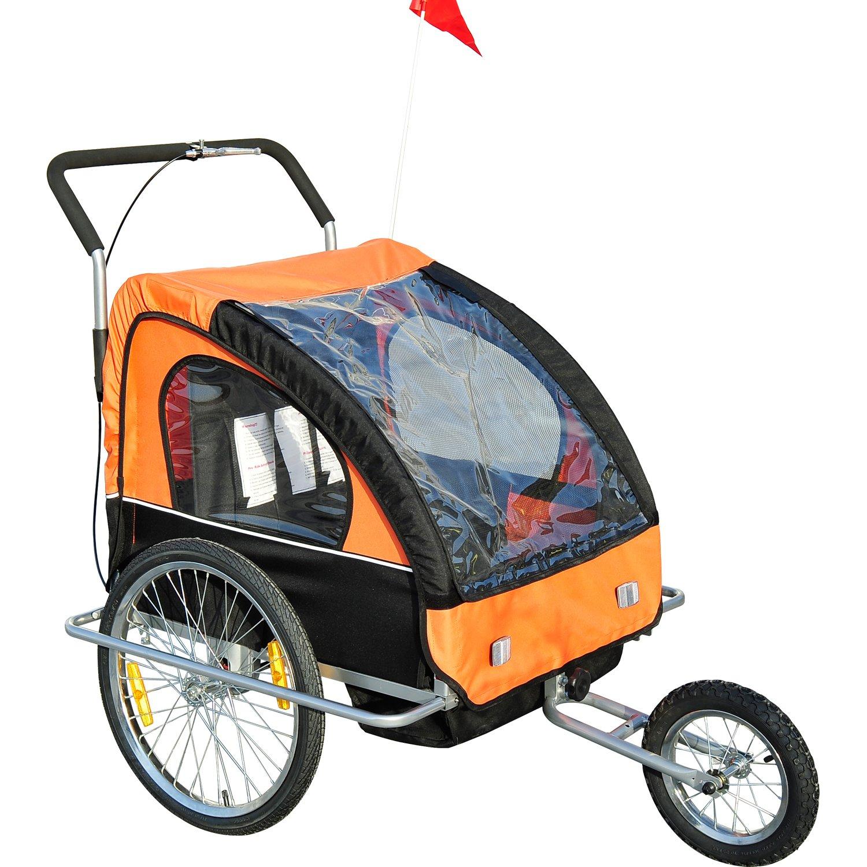 Rimorchio portabimbi per bicicletta, 2 in 1, con funzione passeggino, disponibile in 5 colori homcom 5664-1098n