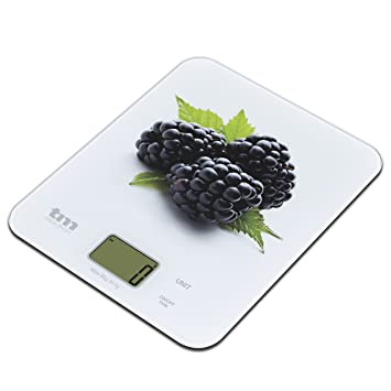 Tm Electron TMPBS023 Báscula Digital de Cocina Ultra Delgada con diseño de moras, Pantalla LCD de 18 mm, Cristal, Blanco: Amazon.es: Hogar