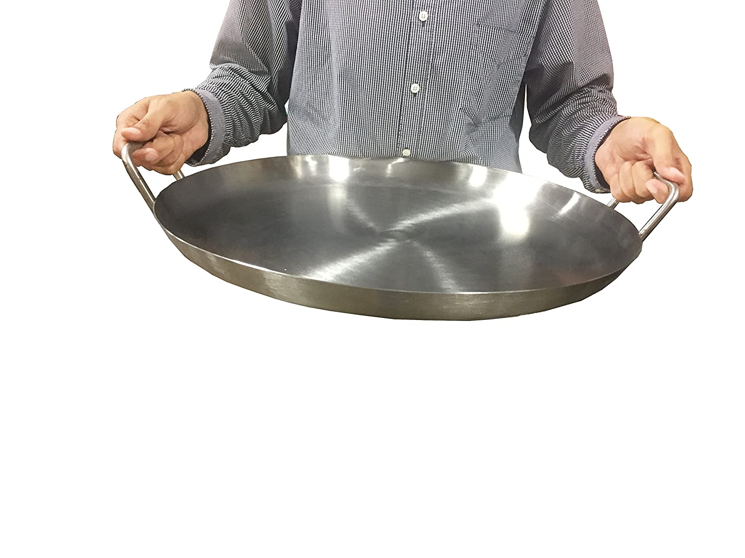 Heavy Duty BBQ Griddle for Portable Gas Stove Stainless Steel Pan Flat Round 16 20 Bioexcel Comal Stir Fry Griddle This one is 20 x 1.5