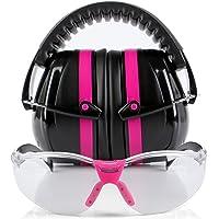 TRADESMART Pink Ear Muffs & Clear/Tinted Gun Safety Glasses - UV400 Anti Fog
