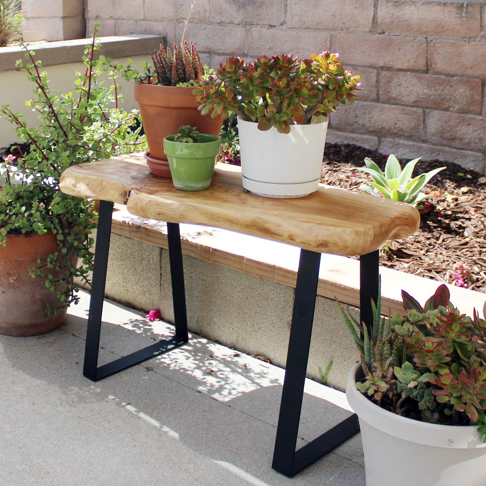 WELLAND Natural Edge Solid Wood Bench with Metal Legs, Cedar, 28'' Long by WELLAND (Image #5)