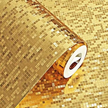 Emoyi Luxury Gold Foil Mosaic Background Flicker Wall Paper Modern Rollhotel Ceilingdecorative Wallpaper Roll Pale Gold Colour 208x787 Gold