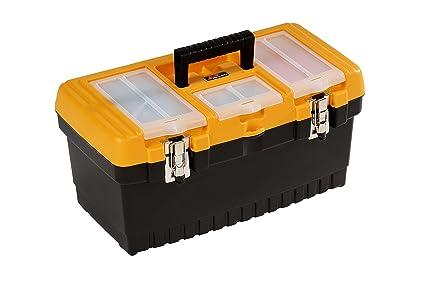 Hobby Plano PMT 19 caja herramientas con cierres de metal y cesta interno, Negro
