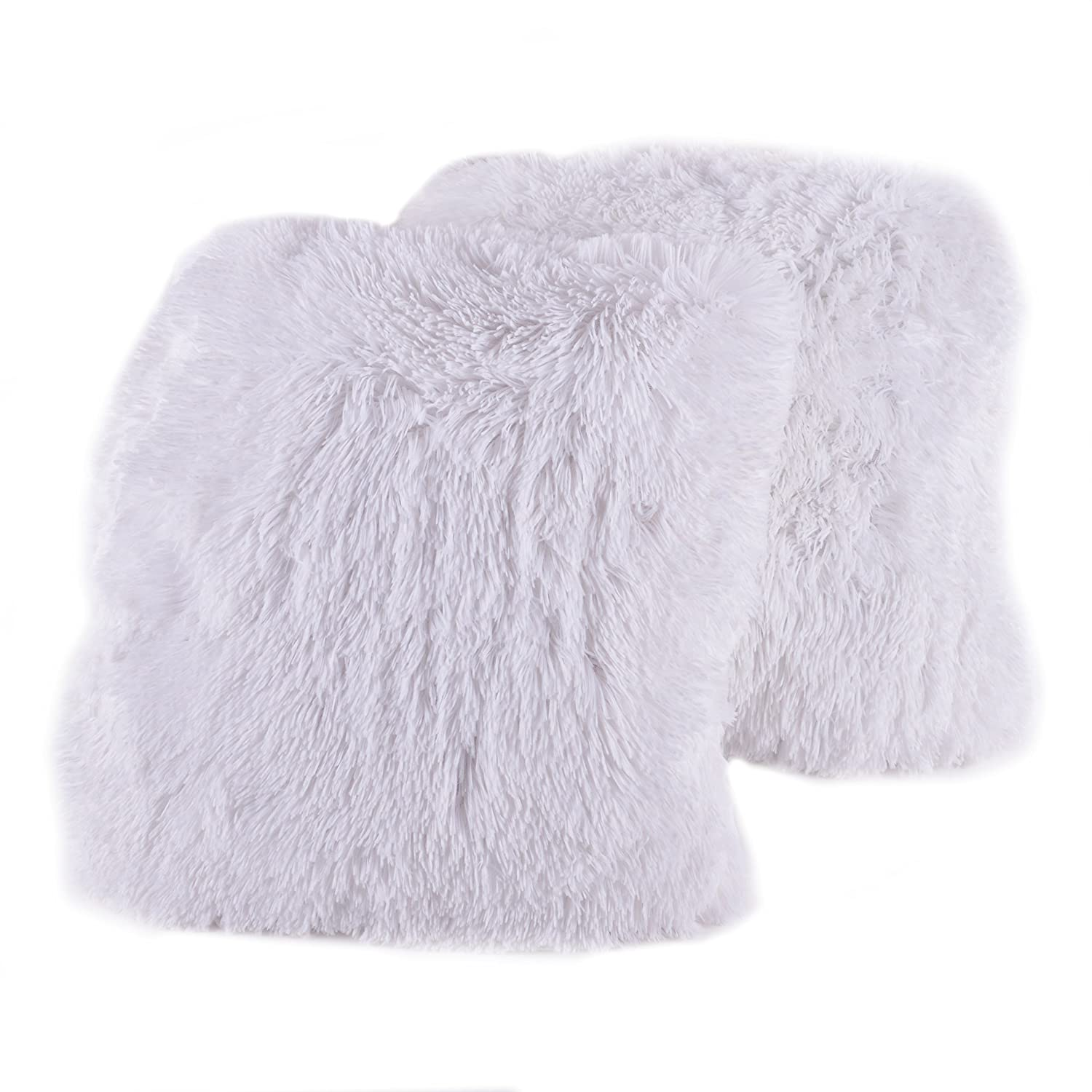Faux Fur Throw And Pillow Set : Plush Pillow Throw Pillow Faux Fur Set 2 Pack White Soft Comfy Bedding Decor New eBay