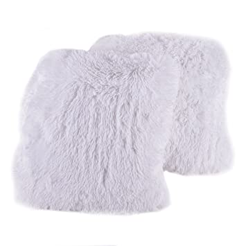 sweet home collection plush pillow faux fur soft and comfy throw pillow 2 pack