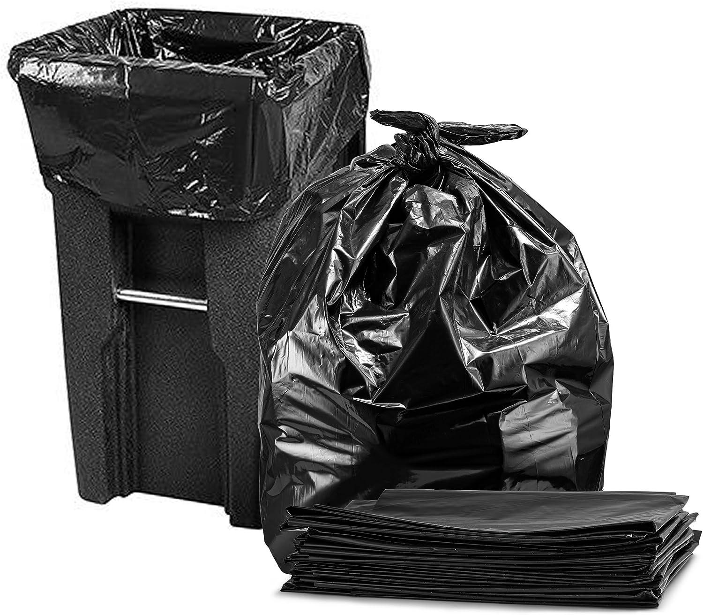 95-100 Gallon (50/Count Wholesale) Large Black Trash Bags, Super Value Pack, (Black)