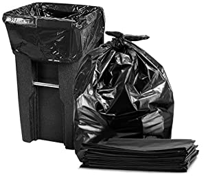 Tasker 95-100 Gallon, (50/Count Wholesale) Large Trash Bags, Super Value Pack, (Black)