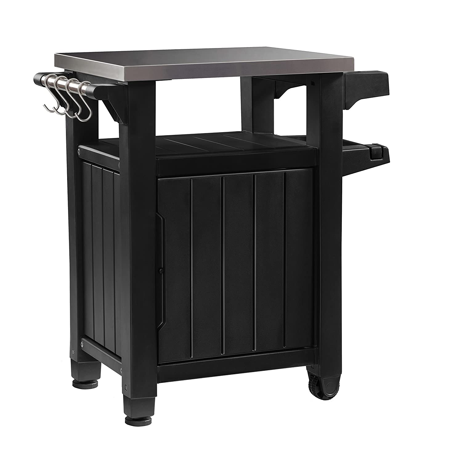 Keter Outdoor Portable Entertainment Kitchen Storage and Food Station, Graphite, 70 x 54 x 90 cm 17202968