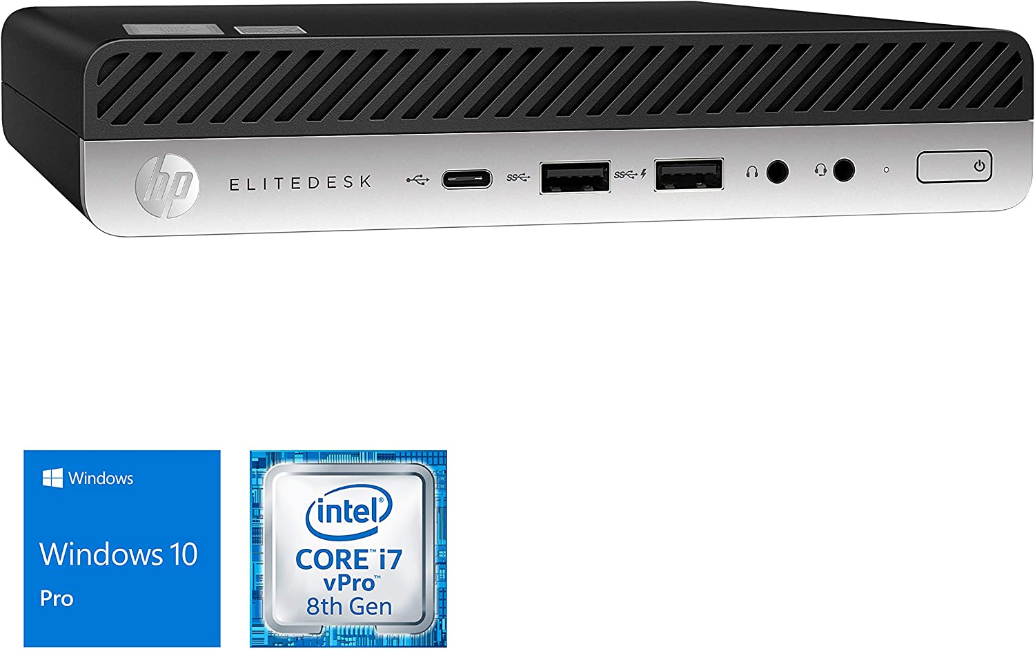 HP EliteDesk 800 G4 Mini PC, Intel Core i7-8700T Upto 4.0GHz, 32GB RAM, 1TB NVMe SSD, DisplayPort, VGA, Wi-Fi, Bluetooth, Windows 10 Pro