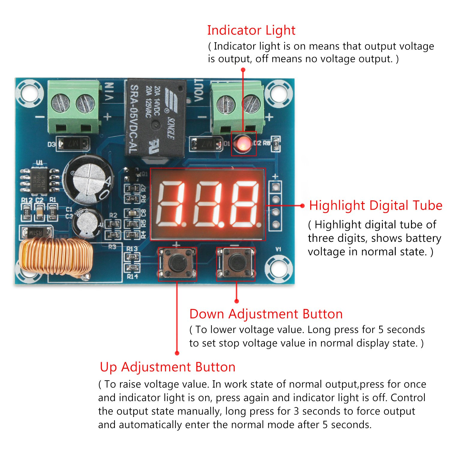 Drok Battery Overdischarge Protection Module Dc 7 80v Shows A Circuit With And Two Lamps Connected In Series Discharging Under Voltage Protector Low Capacity Disconnect Relay Switch Board