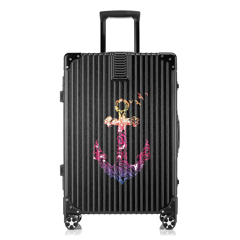 GSHCJ スーツケース アンカー キャリーケース 20インチ おしゃれ ブラック Tsaロック搭載 プリント ハード 超軽量 軽い 機内持込 ロックファスナー 旅行 ビジネス 出張 海外 修学旅行 丈夫 便利 レディース メンズ 学生 B07RZ885YY