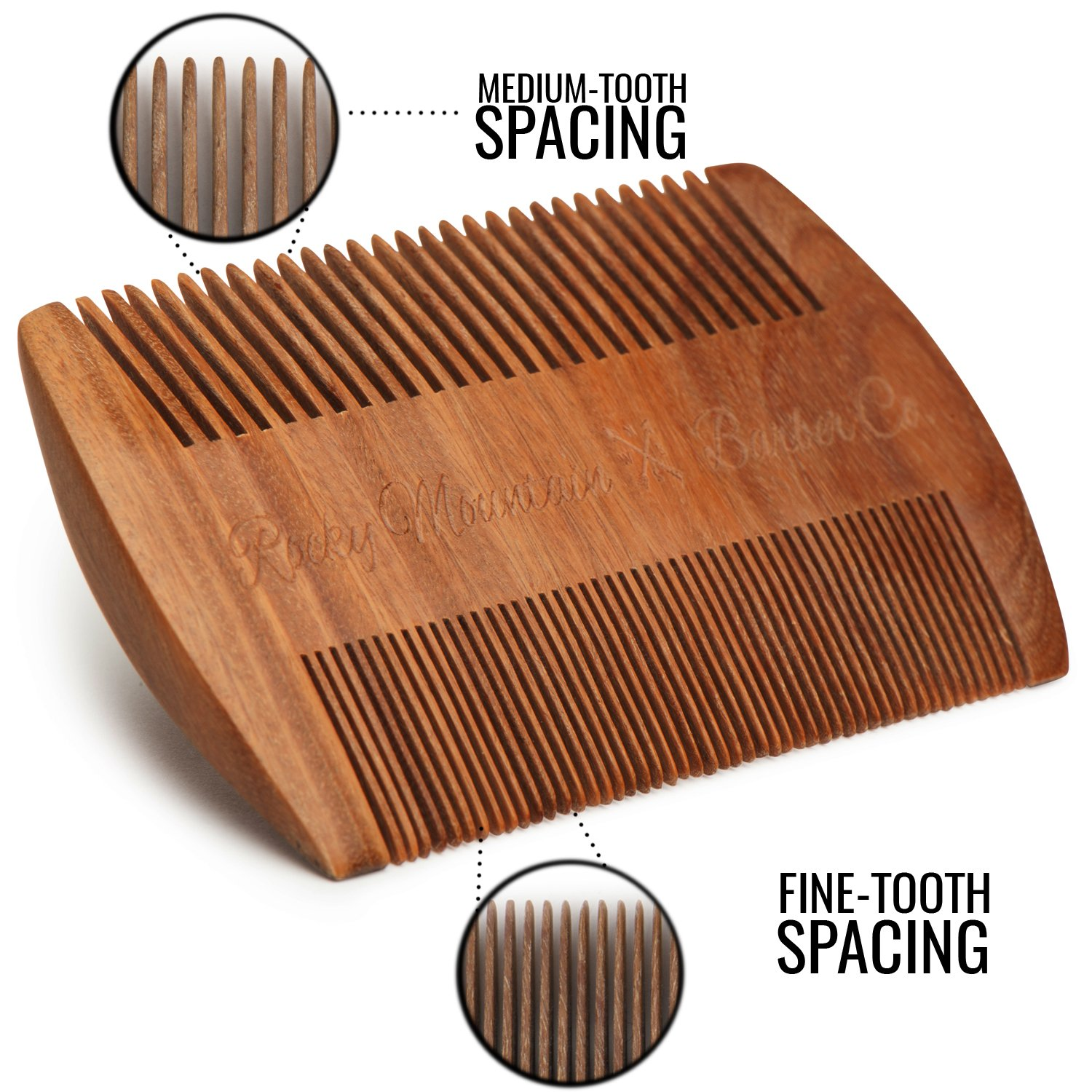 Beard Comb - Natural Sandalwood for Hair with Scented Fragrance Smell with Anti-Static - Handmade Fine Tooth Brush Best for Beard Moustache Packaged in Giftbox by Rocky Mountain Barber Company (Image #3)