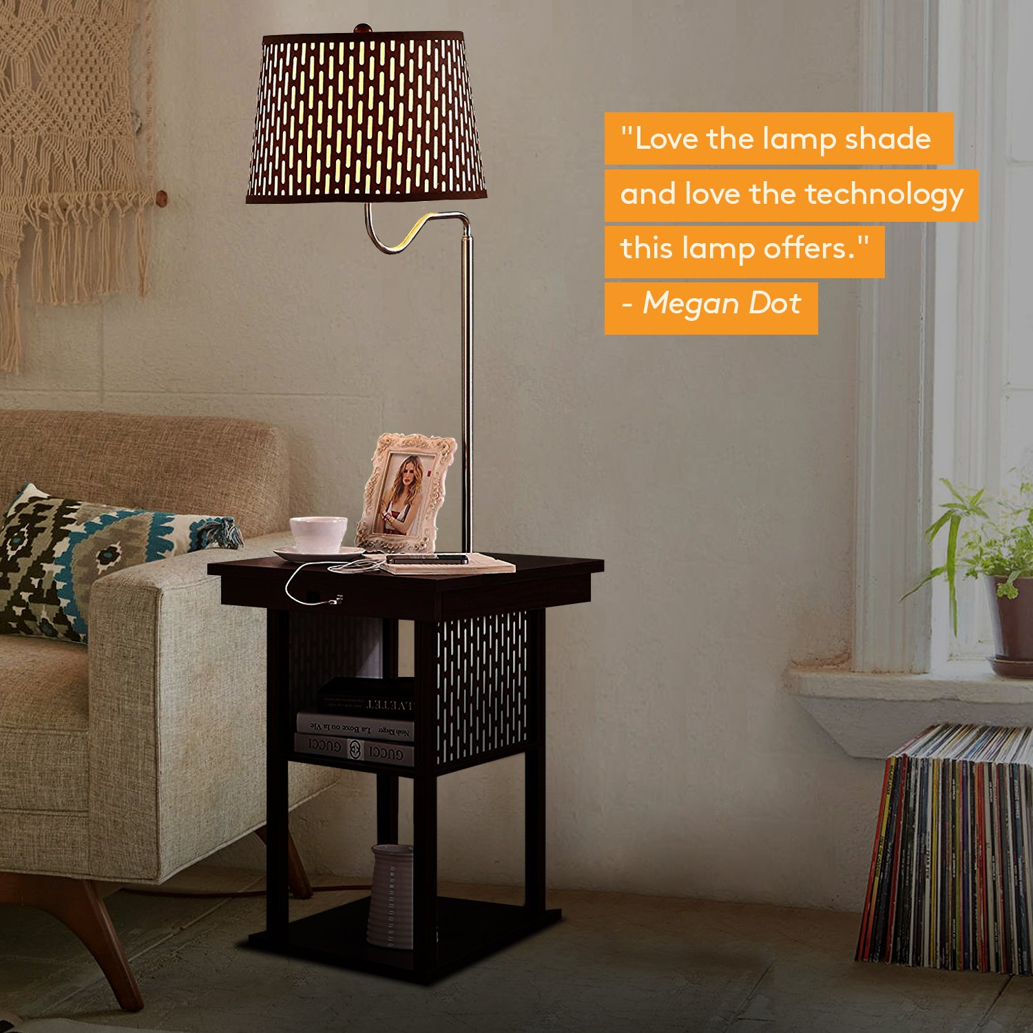 Brightech Madison - Mid Century Modern Nightstand, Shelves & USB Port Combination - Bedside Table with LED Floor Lamp Attached - End Table for Living Room Sofas - Brown by Brightech (Image #10)