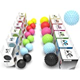 Physix Gear Massage Balls - Spiky or Lacrosse Ball Roller Set for Plantar Fasciitis, Trigger Points Neck & Back Pain Relief - Deep Tissue Rehab Reflexology & Acupressure - Compact Portable Therapist