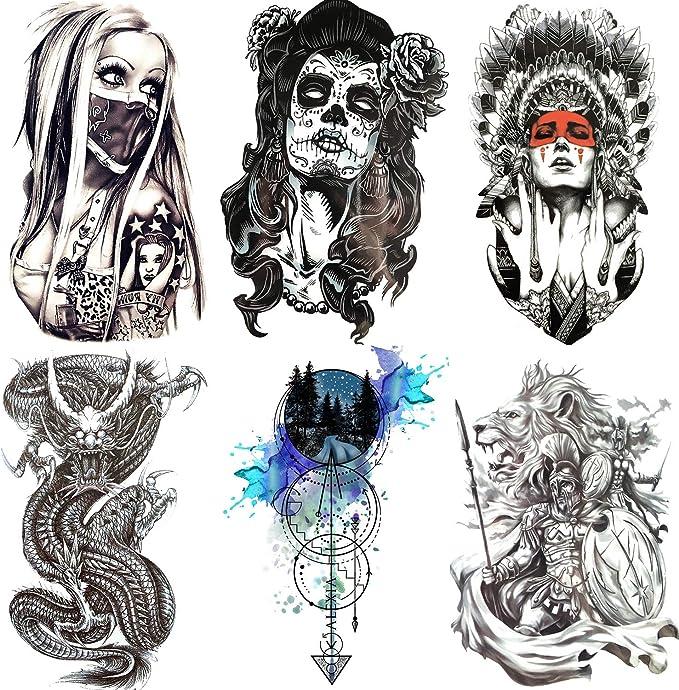 COKTAK 6 Hojas Dragón Negro Grande Tatuajes Temporales Pegatinas ...