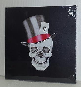 Cuadro en lienzo de calavera del Rock and Roll con sombrero de copa y carta  de cd902429277