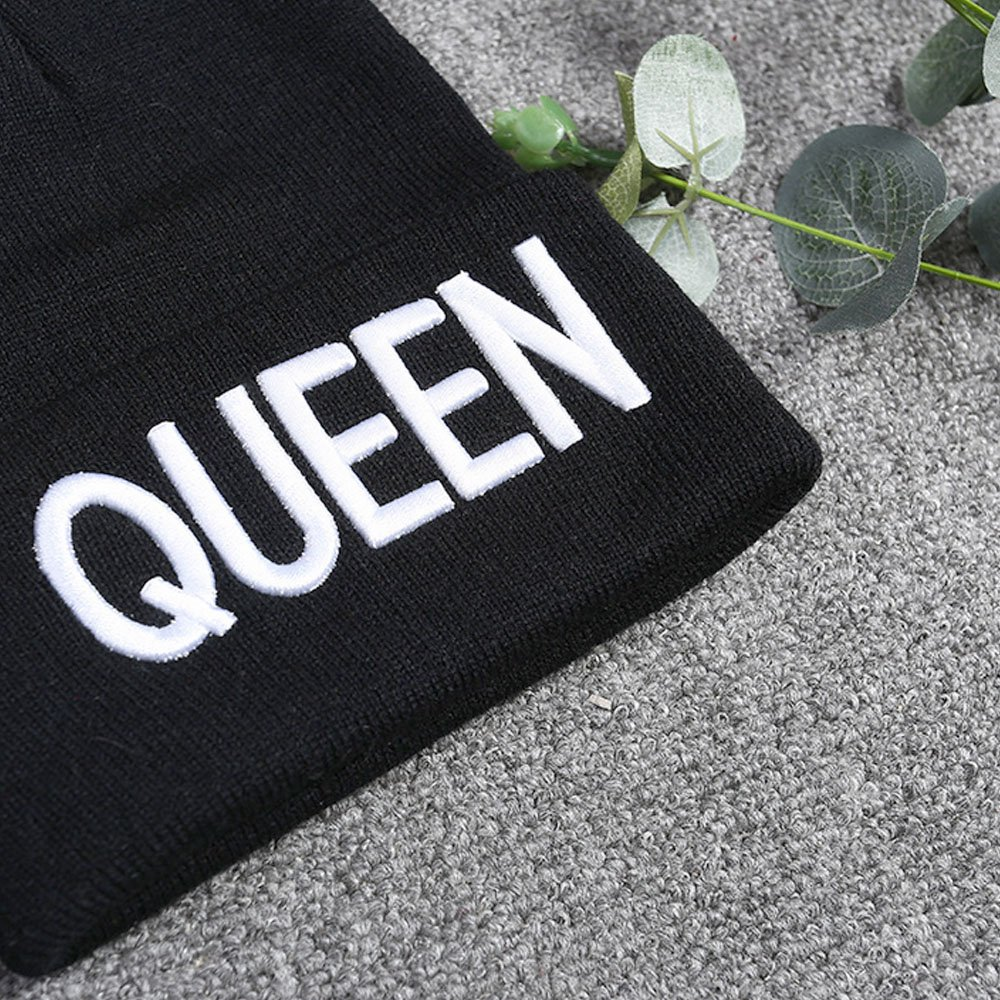 Vococal Beanie Knitted Hat Amantes de Moda Unisex Pareja Caliente Beanie Gorro de Punto con QUEEN And KING