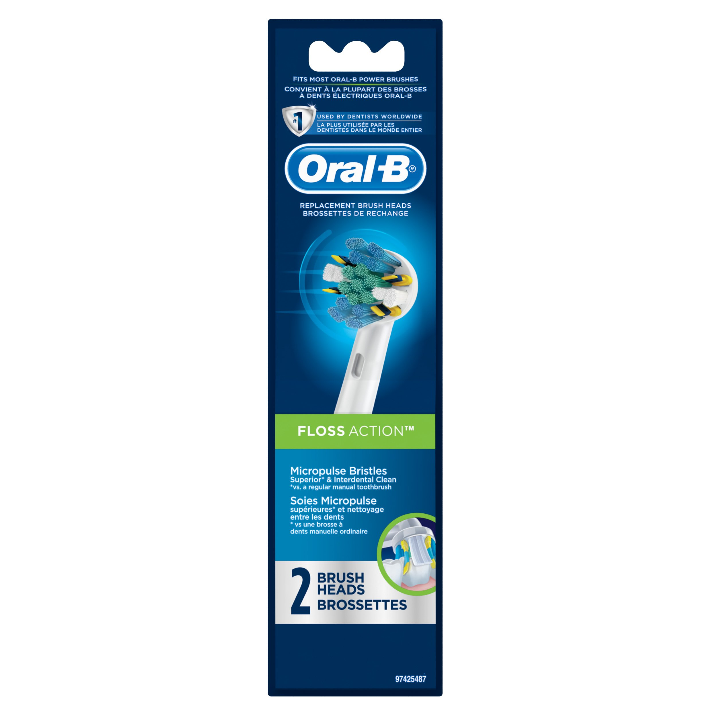 Oral-B Floss Action Electric Toothbrush Replacement Brush Heads Refill, 2 Count Packaging may Vary