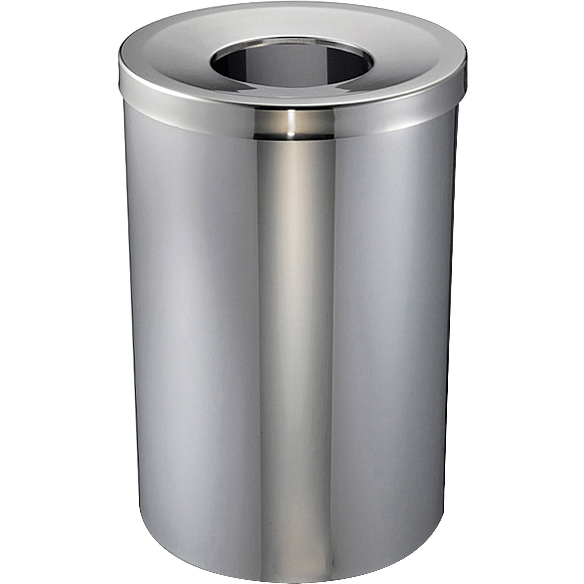 Genuine Joe Open Mouth Waste Receptacle - 30 Gal Capacity - Stainless Steel - Silver (GJO58895)