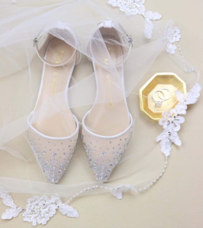 56501837610 Amazon.com: Bridal Flat Wedding Shoes Women's Ivory Satin – Kate ...