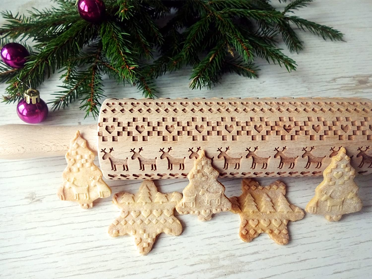 Embossing rolling pin CHRISTMAS. Laser engraved dough roller with CHRISTMAS pattern