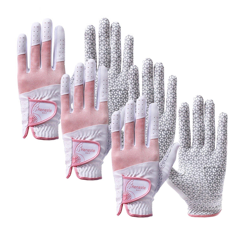 (M(US)-20(Asia), Women/ Henzzle/ Synthetic Leather/ Both Hand/ Rose/ 3pakcs) - Henzzle Men & Women Golf Gloves   B01M113I5U