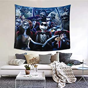 The Nightmare Before Christmas Tapestry Funny Wall Hanging Home Decor for Living Room Bedroom Dorm Room 60x50 Inch