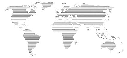 Pegatina de pared Salón Mapa del mundo con patrón integrado de rayas y líneas luminosas Continentes