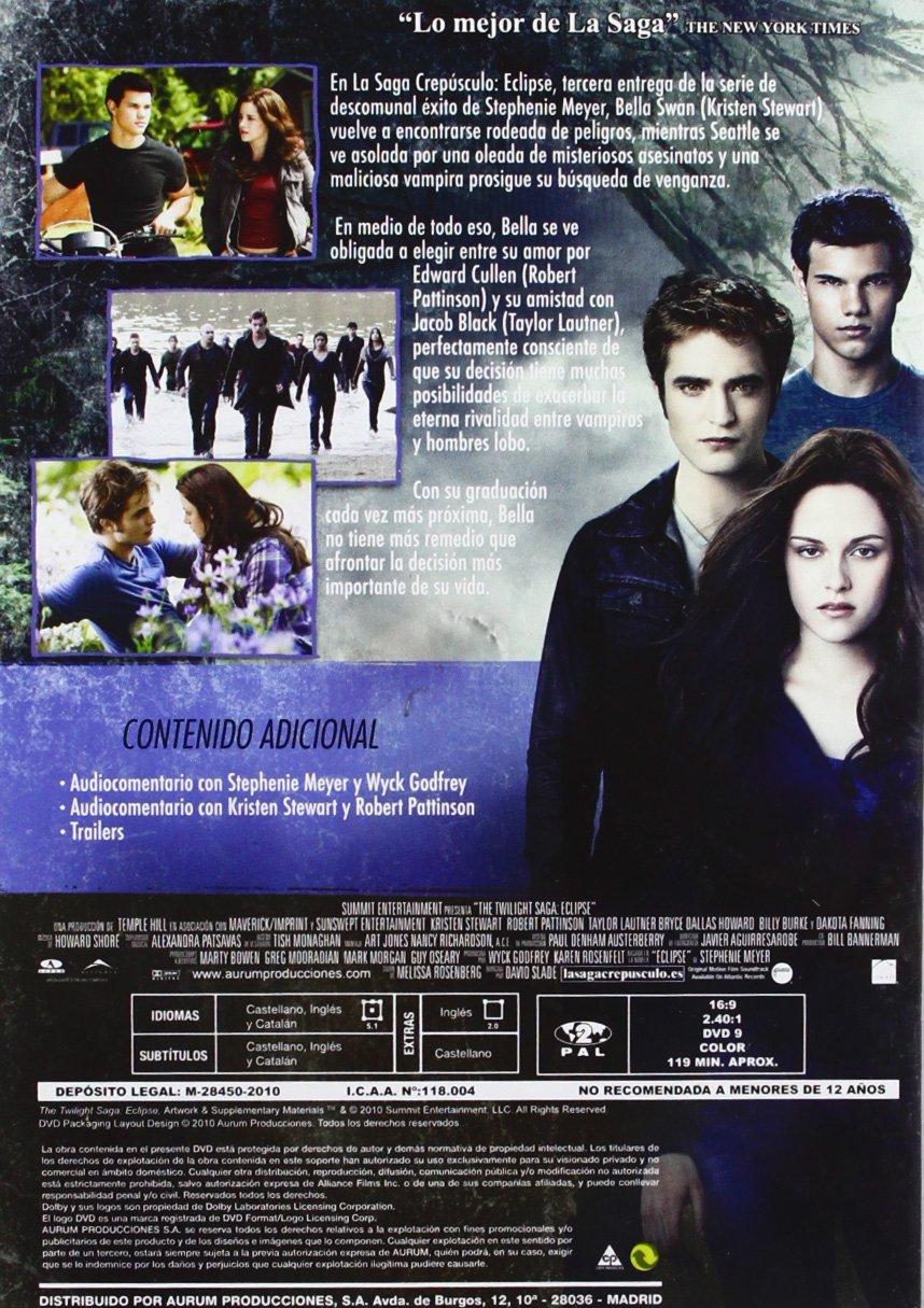 Eclipse (Saga Crepusculo) [DVD]: Amazon.es: Varios: Cine y Series TV