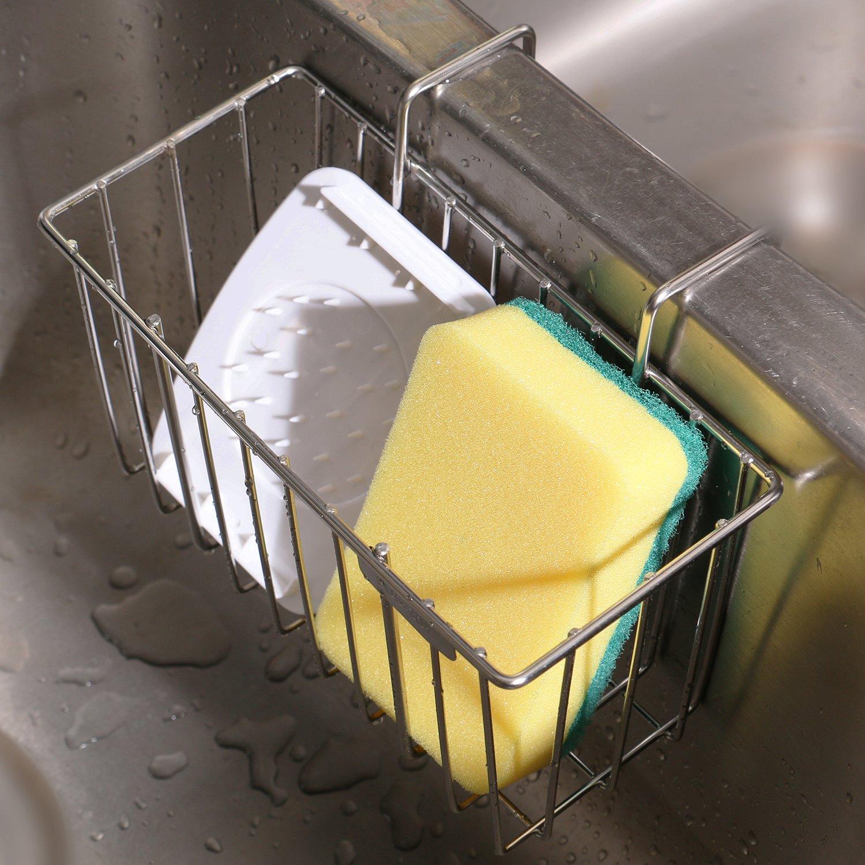 THETIS Homes Kitchen Sponge Holder, Stainless Steel Sink Caddy Organizer Holders Dishwashing Liquid Drainer Rack Bottle Brush Storage