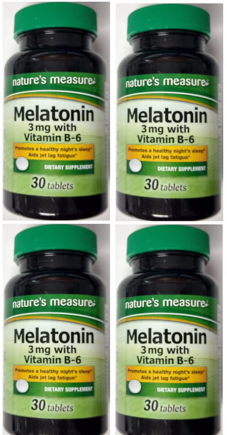 Amazon.com: Natures Measure Melatonin 3mg 30 tablets with Vitamin B-6 Relax and Sleep Dietary Supplement 30ct. (4 Bottles): Health & Personal Care