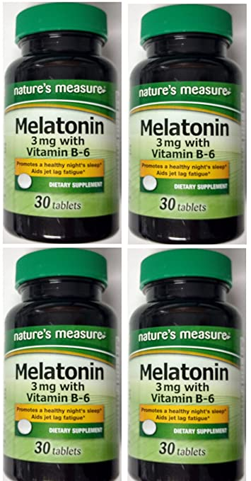 Natures Measure Melatonin 3mg 30 tablets with Vitamin B-6 Relax and Sleep Dietary Supplement
