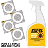 Expel Best Natural Bed Bug Killer Spray + 4 Bonus Glue Trap Insect Interceptors To Stop Climb Up Activity 24 fl oz