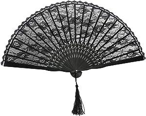 TINKSKY Spanish Victorian Hand Fan Black Lace folding fans Bamboo Hand Fans for Wedding Party Favor Fancy Dress