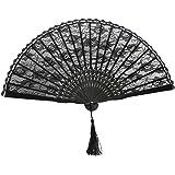 Tinksky Cordón mano Fan mujeres ventilador plegable de seda para regalo o boda Favor fiesta disfraces (negro)