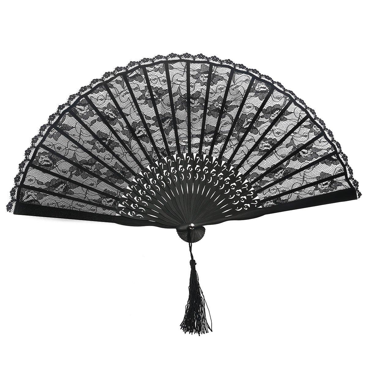 ROSENICE Hand Held Fans Folding Fan Spanish Victorian Hand Fan for Wedding Party(Black)