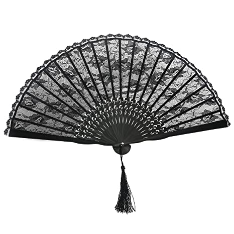 TINKSKY Spanish Victorian Hand Fan Black Lace folding fans Bamboo Hand Fans  for Wedding Party Favor Fancy Dress