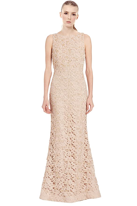 57307593ad2 Amazon.com  Alice   Olivia Kacie Embroidered Beaded Lace Evening Gown Dress   Clothing