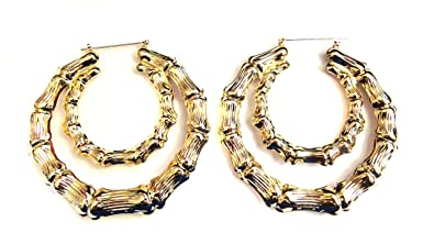 7ddaa6cb6be52 Large Bamboo Hoop Earrings Gold or Silver Tone Double Hoop Earrings