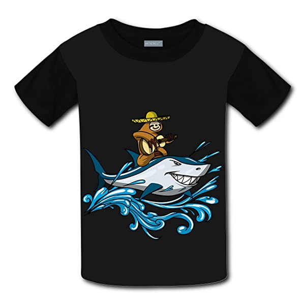 Codoit Lazy Sloth With Guitar Riding Shark Short Sleeve Crew Neck Tshirt For