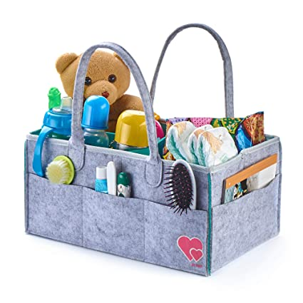 Baby Diaper Caddy Organizer - Portable Changing Table Organizer - Felt - Grey