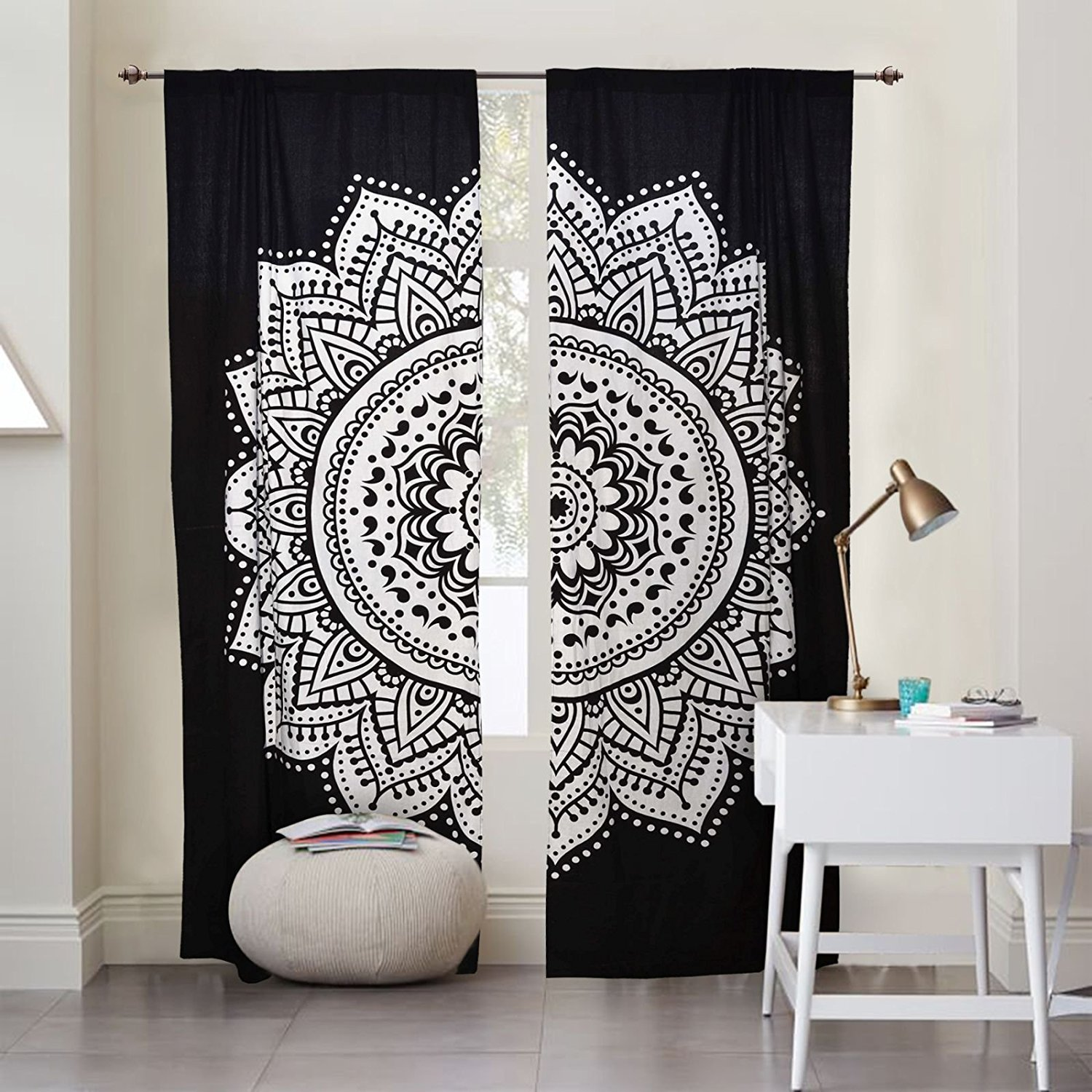 Window Curtains Black and White Mandala Wall Covering Hanging Door Valances Tapestry Room Divider Curtains Indian BedroomPortiere Hanging Drape Mandala Wall Decoration THE DARJII