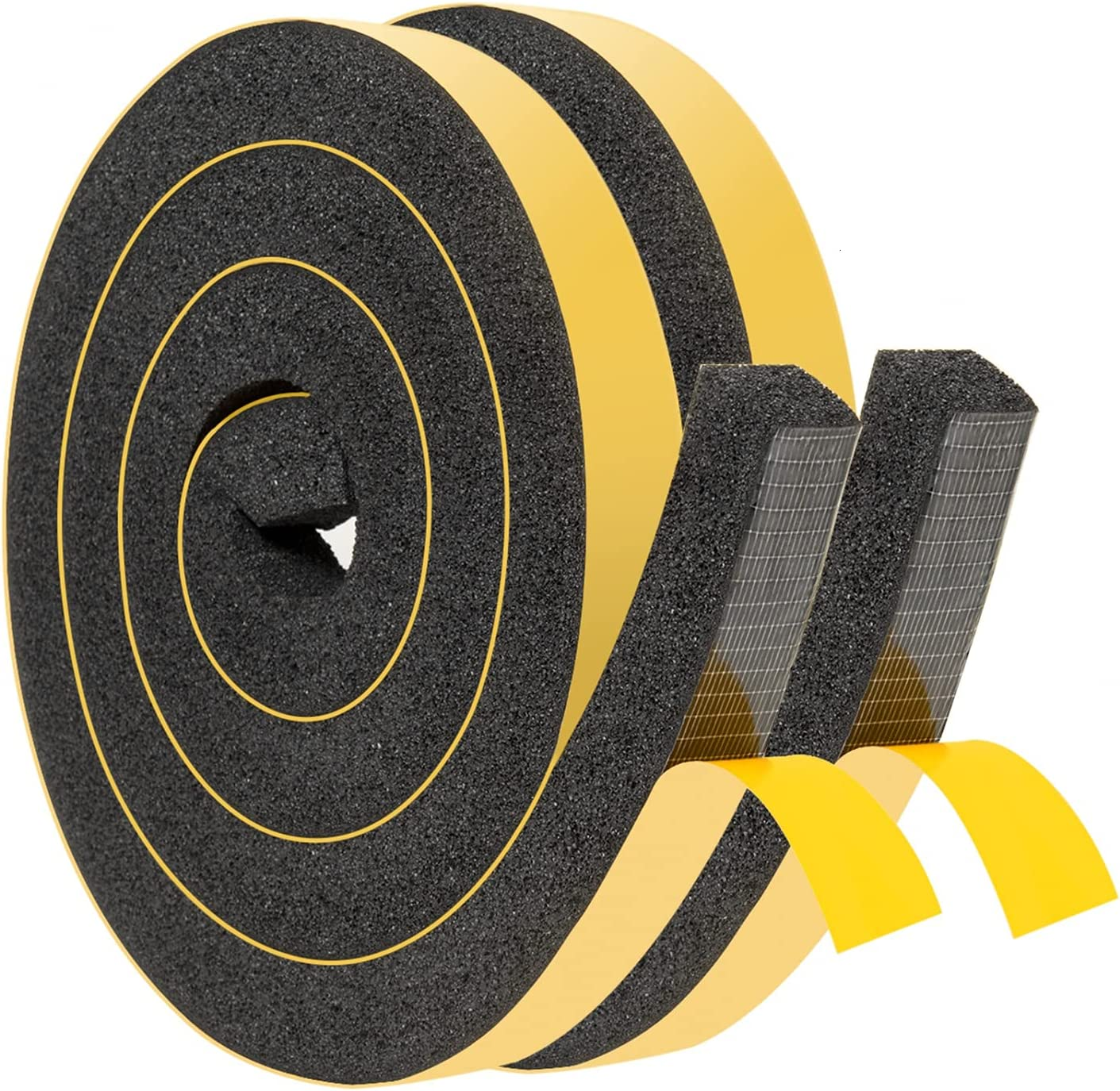 YoleShy Window Air Conditioner Foam Tape 2 Pcs 1 Inch Wide x 1 Inch Thick Weather Stripping Door Seal Strip for Insulation, Weatherstrip, Gap Blocker,Total 13 Feet Long(6.5ft x 2 Rolls)