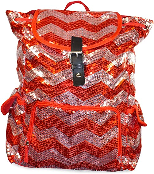 Chevron Sequin Backpack Red'silver