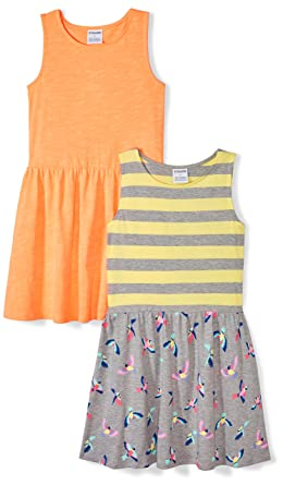 d4da246ed Amazon Brand - Spotted Zebra Girls' Toddler 2-Pack Knit Sleeveless Fit and  Flare
